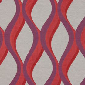 Bari - Berry - Berry red  vertical waves on grey fabric