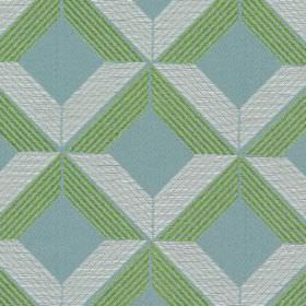 Lucca - Aquamarine - Green and white cross-hatched lines on aquamarine blue fabric