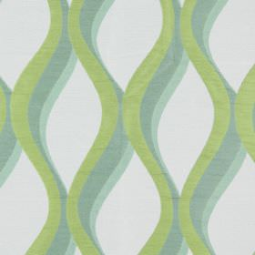 Bari - Aquamarine - Aquamarine green vertical waves on light sandy fabric