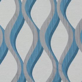 Bari - Lagoon - Lagoon blue vertical waves on light sandy fabric