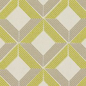 Lucca - Citrus - Citrus yellow and grey cross-hatched lines on white fabric