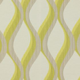 Bari - Citrus - Citrus yellow vertical waves on white fabric