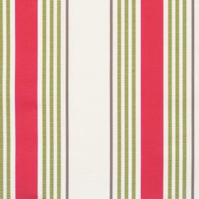 San Remo - Tomato - White fabric with red and green varied stripes