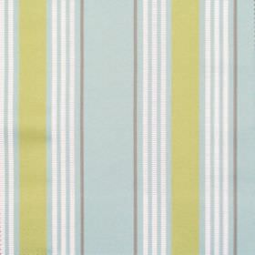 San Remo - Pistachio - Pale blue fabric with white and green stripe pattern