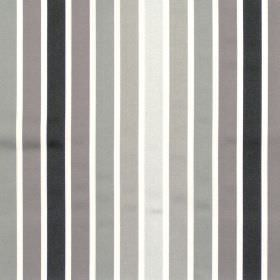 Biarritz - Onyx - Black and grey even striped fabric