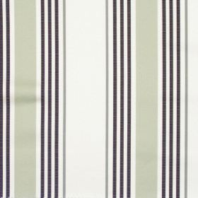 San Remo - Onyx - White striped fabric with grey and black stripes