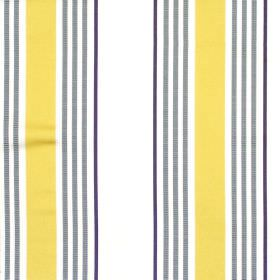 San Remo - Saffron - White striped fabric with yellow and grey stripes