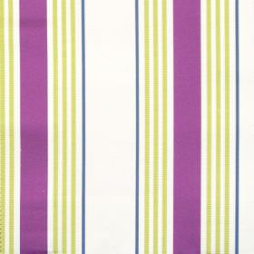 San Remo - Damson - White purple and lime green fabric with varied thickness stripes