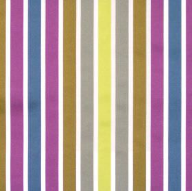 Biarritz - Damson - Purple blue and green even striped fabric