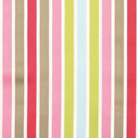 Biarritz - Tomato - Red pink and green even striped fabric