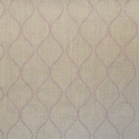 Newhaven - Lavender - Classic lavender purple dotted wave design on linen fabric