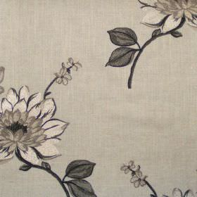Nantucket - Onyx - Classic onyx black floral design on linen fabric