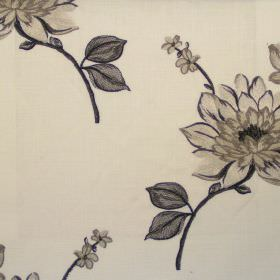 Nantucket - Charcoal - Classic charcoal black floral design on linen fabric