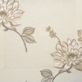 Nantucket - Oyster - Classic oyster white floral design on linen fabric