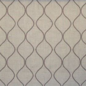 Newhaven - Linen - Classic dark grey dotted wave design on linen fabric