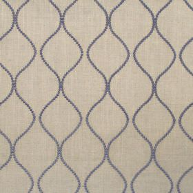 Newhaven - Denim - Classic denim blue dotted wave design on linen fabric