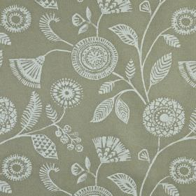 Ecuador - Linen - Pretty, patterned floral and leaf print fabric made from 100% linen in cloud grey and cement grey