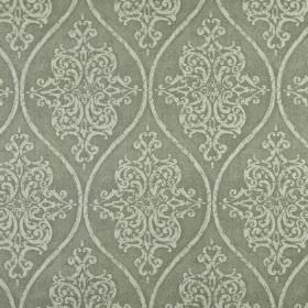 Genoa - Willow - Ornate patterns and wavy lines printed repeatedly in two different shades of grey on fabric made from 100% linen