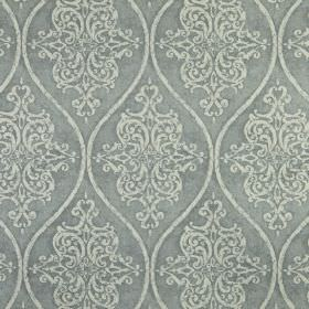 Genoa - Dove - 100% linen fabric made in 2 different light shades of grey, featuring a repeated pattern of ornate designs & wavy lines