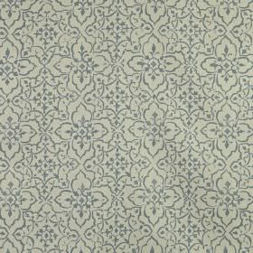Tabriz - Colonial - A pretty, delicate, iron grey pattern printed repeatedly on an ash grey coloured 100% linen fabric background