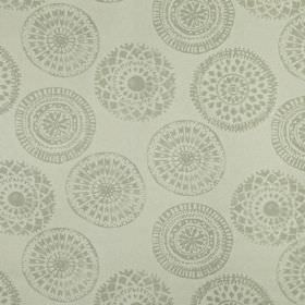 Mayan - Natural - Light ash grey coloured patterned circles scattered on a very pale grey-white background of fabric made from 100% linen