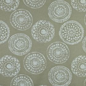 Mayan - Linen - Cement grey coloured 100% linen fabric scattered with pretty patterned circles in a light icy grey colour