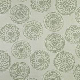 Mayan - Willow - Two different shades of grey making up a pretty patterned circle design scattered over 100% linen fabric