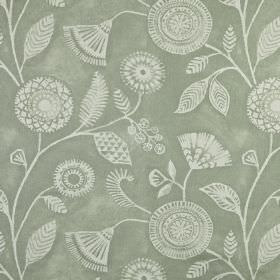 Ecuador - Willow - Two different light shades of grey making up a 100% linen fabric printed with pretty, patterned flowers and leaves