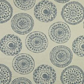 Mayan - Colonial - 100% linen fabric in very pale grey-white, printed with a dark, dusky blue design of pretty patterned circles