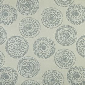 Mayan - Dove - Pretty patterned circles printed on fabric made from 100% linen in two different light shades of grey