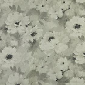 Verese - Natural - A soft, delicate, smudged floral pattern covering fabric made from 100% linen in various light shades of grey