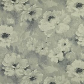 Verese - Dove - Fabric made from 100% linen featuring a soft, gentle, smudged floral pattern in several light shades of grey
