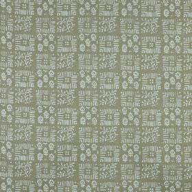 Tokyo - Linen - 100% linen fabric in cement grey behind a checkerboard style design of small, delicate, very pale cloud grey patterns