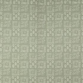 Tokyo - Willow - Two light shades of grey making up a 100% linen fabric with a checkerboard style design of small, delicate patterns