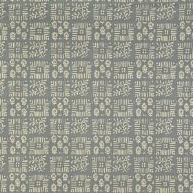 Tokyo - Colonial - Off-white and steel grey coloured small, delicate patterns arranged in a checkerboard style design on 100% linen fabric