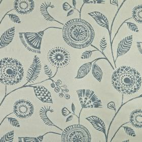 Ecuador - Colonial - A dusky blue design of pretty, patterned flowers and leaves on a steel grey 100% linen fabric background