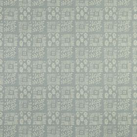 Tokyo - Dove - 100% linen fabric made in blue-grey and off-white, with small, delicate patterns arranged in a checkerboard style design