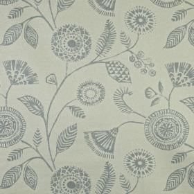 Ecuador - Dove - Fabric made from 100% linen in cement grey, printed with pretty, patterned flowers and leaves in battleship grey