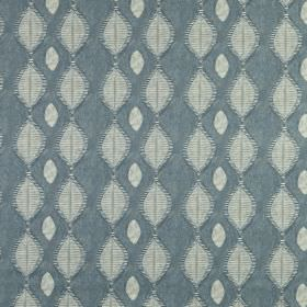 Berber - Colonial - 100% linen fabric in dark, dusky blue, featuring a small, rounded diamond design in very pale grey-white and ash grey