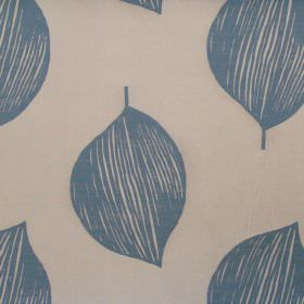 Terrazzo - Dresden - White fabric with dresden blue simplistic leaves