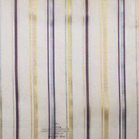 Enrique - Chartreuse - Chartreuse yellow and purple stripes on see-through fabric
