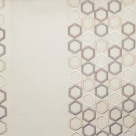 Nouveau - Ivory - Bands of ivory white hexagons on white fabric