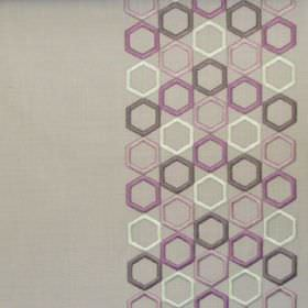 Nouveau - Heather - Bands of deep purple hexagons on light brown fabric