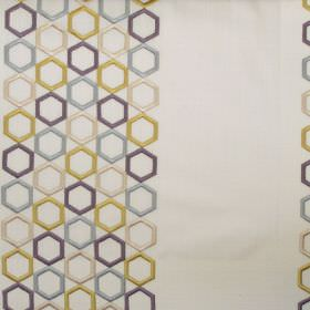 Nouveau - Chartreuse - Bands of chartreuse yellow hexagons on white fabric
