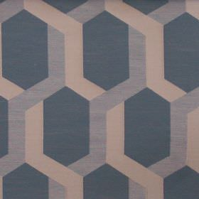 Gaudi - Dresden - Dresden blue fabric with lines forming hexagons