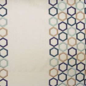 Nouveau - Dresden - Bands of dresden blue hexagons on white fabric