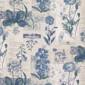 Wild Flower - Denim - Parchment white fabric with classic denim blue realistic flower drawings