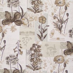 Wild Flower - Pumice - Parchment white fabric with classic pumice brown realistic flower drawings