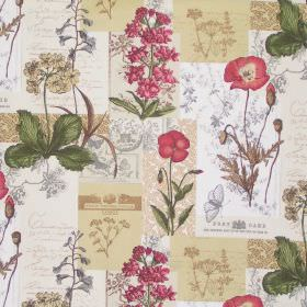 Wild Flower - Cinnamon - Parchment white fabric with classic cinnamon brown and red realistic flower drawings