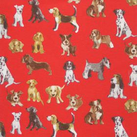 Hot Dog - Red - Red fabric with printed images of dogs and pups for children